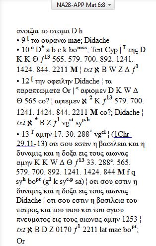 NA-28 Matt 6:9-13 Textual App